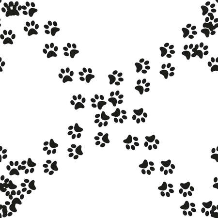 Animal footprint seamless pattern. Footprints of a cat, dog, bear, lion, leopard and other animals