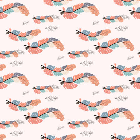Beautiful doodle seamless pattern of boho feathers on a pink background. Hand drawn style. Seamless texture Vettoriali