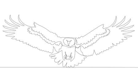 Self drawing animation of continuous one single line drawing of silhouette of a bird eagle Vettoriali
