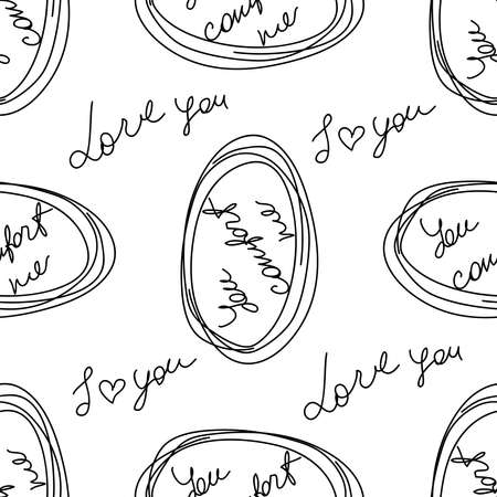 love you hearts romantic pattern illustration isolated on white. black and white seamless pattern