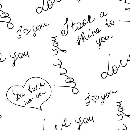 love you hearts romantic pattern illustration isolated on white. black and white seamless pattern for wallpaper, textiles, packaging, scrapbooking, foil stamping. Vettoriali