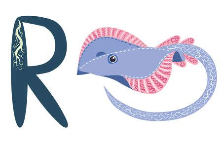 ABC kids letter ray fish Blue spotted sea animal cartoon character Ocean animal, cramp fish Stingray fish for illustration, wildlife design Funny sea animal alphabet
