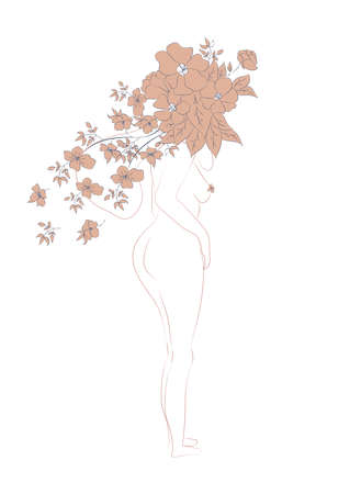 Silhouette of a woman, female body, body positive, cosmetic concept with flowers, trendy beige, template
