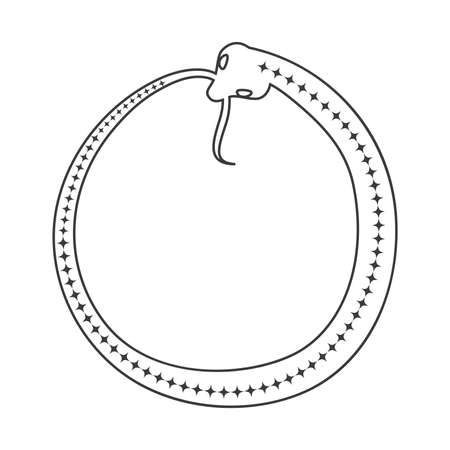 Esoteric symbol. Mystical and magical design with a snake biting its own tail, ouroboros Vettoriali