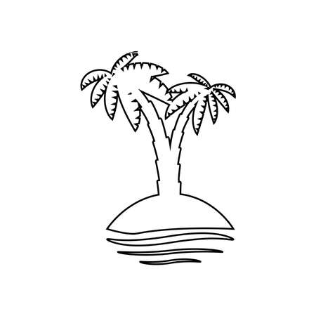 palm tropical tree set icons black silhouette illustration isolated on white background Vettoriali