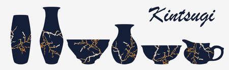 Renovated kintsugi japanese vase art color sketch engraving illustration. Kintsugi inscription. Imitation of scratch board style. Teapot, plate, vase set