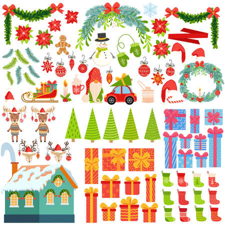 Big set of Christmas elements hand drawn. Gifts, stockings, Christmas trees, gnomes, candies, mistletoe, wreaths and other symbols of the New Year and Christmas