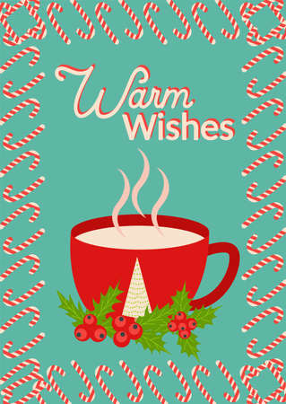 Christmas and Happy New Year templates. Trendy retro style. Lettering Warm wishes