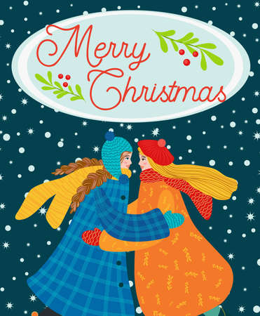 Two girls hug, girlfriend, sisters or lesbian couple congratulate each other on the holidays. Christmas and Happy New Year illustration. Trendy retro style, design template. Vettoriali