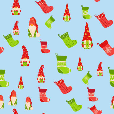 Christmas background with gnomes and stockings. Scandinavian christmas