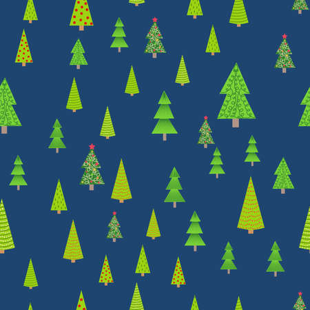 Seamless Christmas background with decorative Christmas trees Vettoriali