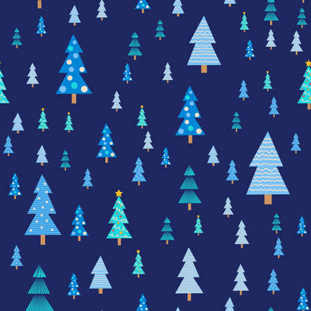 Blue christmas tree seamless pattern. Winter forest, pine trees and snowflakes. Celebration new year pattern. Christmas pattern. Vettoriali