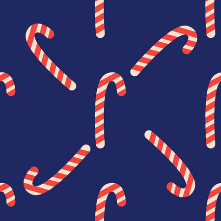 Christmas candy cane stripes seamless pattern in red and white. Popular winter festive background. Repeating tile pattern