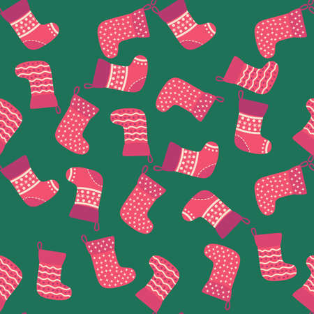 Christmas red socks doodle seamless pattern. Merry Christmas and Happy New Year print design