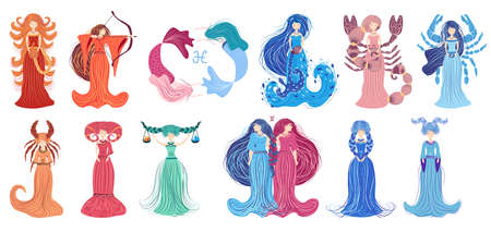 Zodiac, set of illustration of the zodiac sign as a beautiful girl with braids. Vintage zodiac boho style fashion illustration in pastel colors.