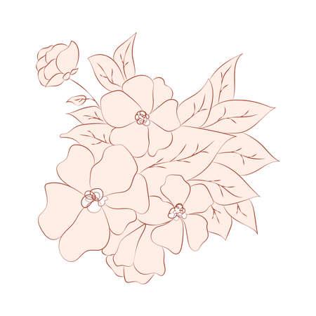 illustration brown beige nude flower, one line drawing, line art, modern illustration and art, nature and plants minimalist design Ilustracja