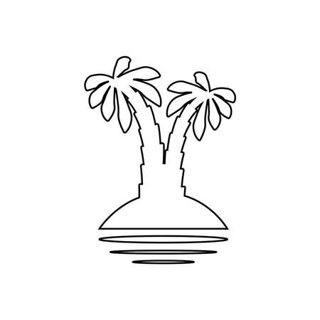 palm tropical tree set icons black silhouette illustration isolated on white background Ilustracja