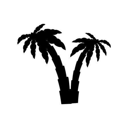 tropical palm trees with leaves, mature and young plants, black silhouettes isolated on white background