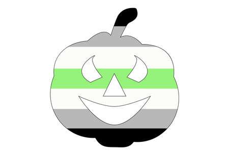 LGBT pride flag, Agender PRIDE. Multicolored peace flag movement. Original colors symbol. Pumpkin shaped, jack halloween