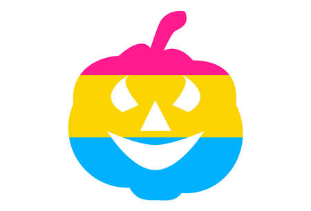LGBT pride flag, Pansexual PRIDE. Multicolored peace flag movement. Original colors symbol. Pumpkin shaped, jack halloween Ilustracja