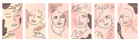 Set of Woman's Face continuous Line art. Abstract Contemporary collage of geometric shapes in a modern trendy style Ilustracja