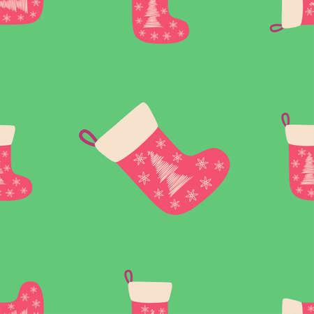 Christmas seamless pattern with red christmas socks with hand drawn christmas tree.