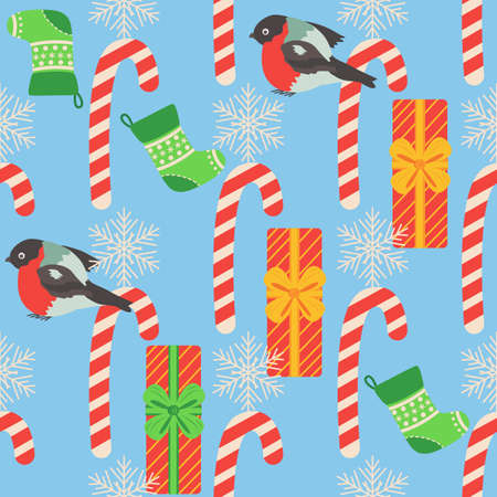Christmas seamless pattern with candy cane, gift, stocking, bullfinch bird. Christmas wrapping paper. Ilustracja