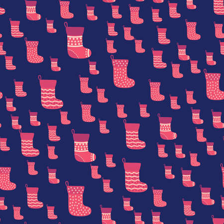 Christmas seamless pattern with red Christmas socks with snowflakes, specks, pattern