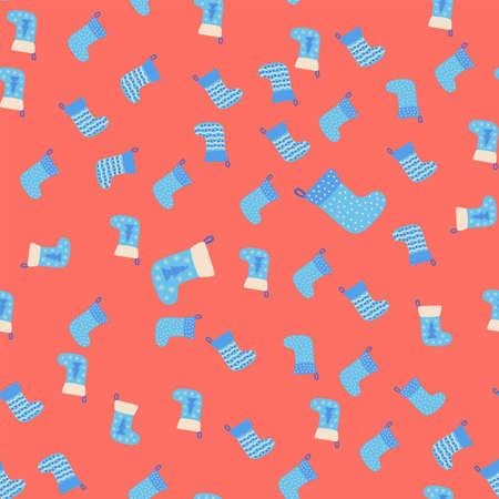 Christmas seamless pattern with blue Christmas socks with snowflakes, specks, pattern Ilustracja