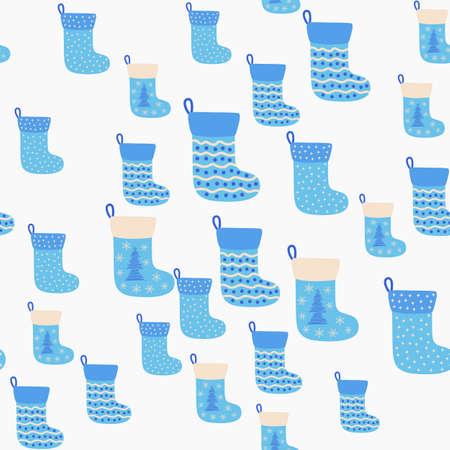 Christmas seamless pattern with blue Christmas socks. Christmas, New Year illustration Ilustracja