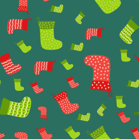 Christmas background with green, red stockings, wrapping paper and background image. Christmas stockings seamless pattern. Ilustracja