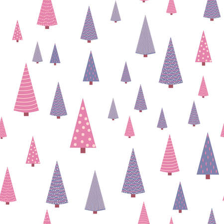 Seamless repeating pattern with textured Christmas trees in violet, pastel pink colors on gray, blue, turquoise. Modern and original holiday textiles, gift wrapping, wall decoration.