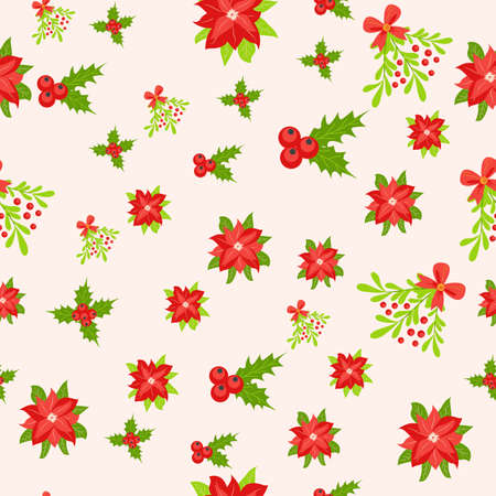 Seamless pattern with hand drawn poinsettia flowers and floral branches and berries, mistletoe, christmas florals. Repeating background for wrapping paper, fabric