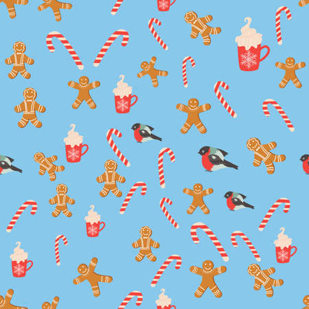 Seamless background for Christmas with gingerbread man, lollipop, bullfinch, cup of cocoa. Winter holiday, cooking, new year eve