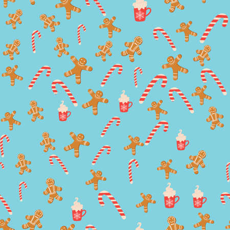 Seamless background for Christmas with gingerbread man, cane lollipop, cup of cocoa. Winter holiday, cooking, new year's eve.