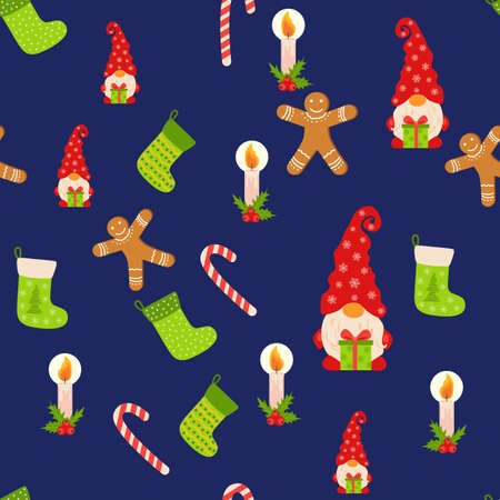 Seamless Christmas pattern with gnome, gingerbread, candle, stocking, candy cane. Wrapping paper decoration Ilustracja