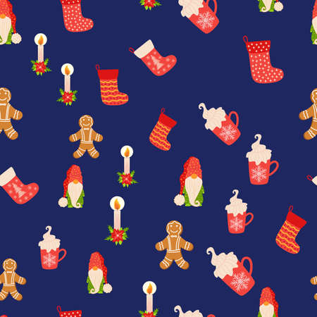 Seamless Christmas pattern with gnome, candle, gingerbread, stocking. Wrapping paper decoration