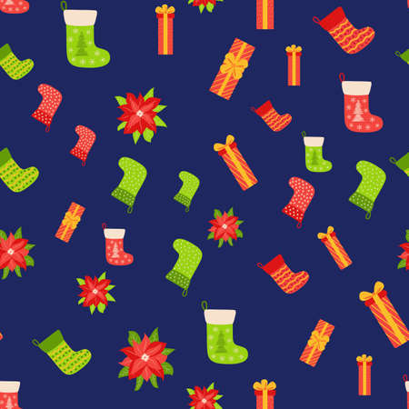 Seamless pattern with Christmas gifts, poinsettia and red, green stocking. Christmas packaging.