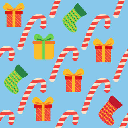 Christmas seamless pattern with candy cane, gift, stocking. Christmas wrapping paper.