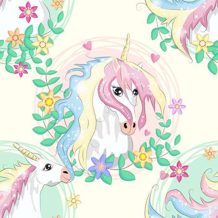 pattern with cute unicorns, clouds,rainbow and stars. Magic background with little unicorns. Иллюстрация