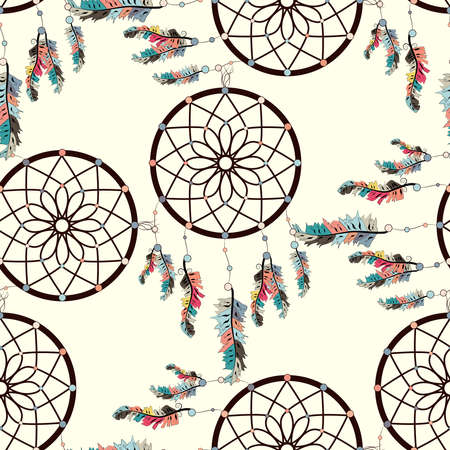 seamless background, retro pattern, ethnic doodle collection, tribal design. Hand drawn illustration with indian dreamcatchers and feathers
