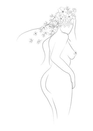 Woman silhouette, female body, body positive, cosmetic concept with flowers, black on white