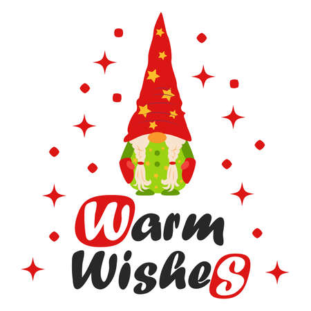 Card for winter holidays. Christmas and Happy New Year illustration. Trendy design template. Christmas card with gnome