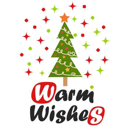 Christmas tree, winter celebration postcard for season greetings holidays and new year