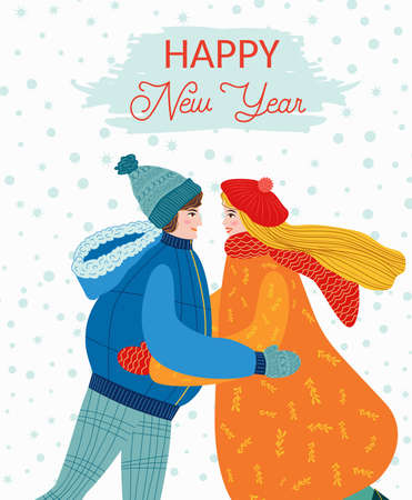 The guy and the girl are hugging, the couple congratulates each other on the holidays. Christmas and Happy New Year illustration. Trendy retro style, design template.