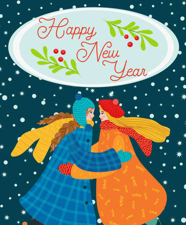 Two girls hug, girlfriend, sisters or lesbian couple congratulate each other on the holidays. Christmas and Happy New Year illustration. Trendy retro style, design template. Иллюстрация