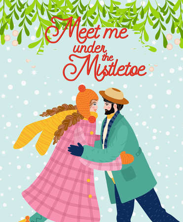 A man and a girl are hugging, a kiss under the mistletoe, the couple congratulates each other on the winter holidays. Christmas and Happy New Year illustration. Trendy retro style, design template. Иллюстрация