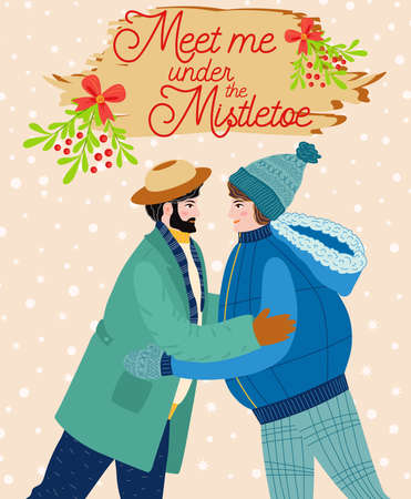 Two men hug, kiss under the mistletoe, gay couple congratulates each other on the winter holidays. Christmas and Happy New Year illustration. Trendy retro style, design template.