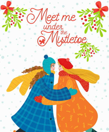 Two girls hug, kiss under the mistletoe, gay, lesbian couple congratulate each other on the winter holidays. Christmas and Happy New Year illustration. Trendy retro style, design template.