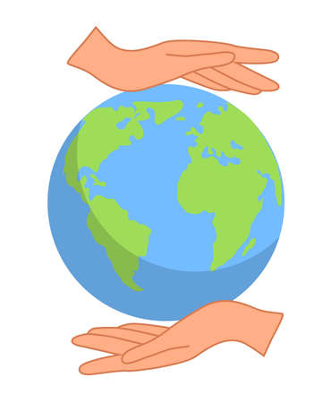 hands close the planet from pollution, save the planet, a small process of a plant, save energy, Earth Day concept